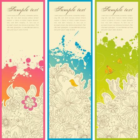 s�rie de trois banni�res verticales floraux ou signets