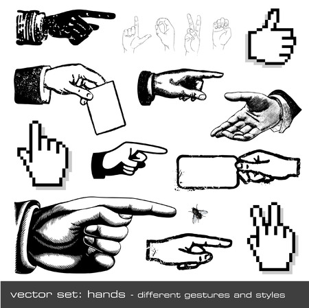 pointing finger pointing: vector set: hands - different gestures and styles