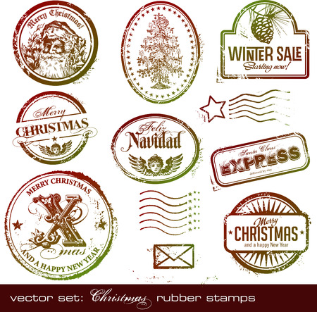 detailed vintage Christmas rubberpostage stamps Vector