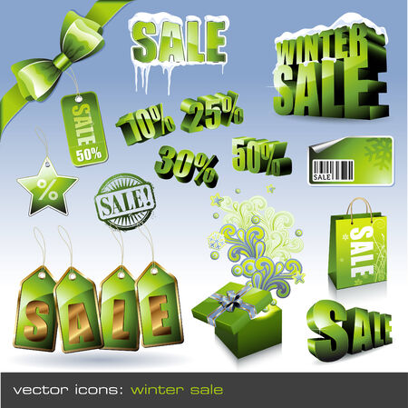 set: winter sale - different green items Vector