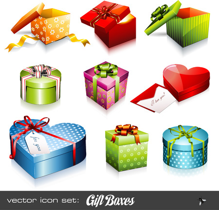 set of nine colorful gift boxes