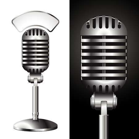 retro studio microphone with matching sign for your text Vector