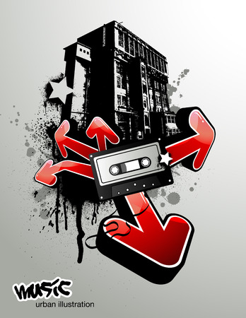 urban youth: urban illustration with arrows and music tape