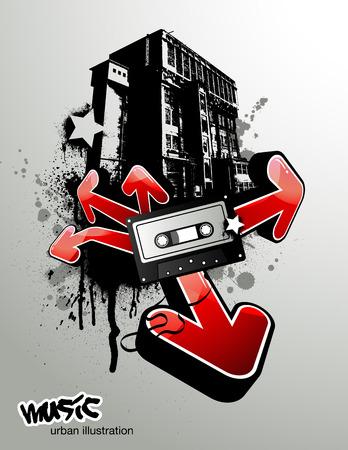 ghetto: urbana illustrazione con nastro di musica e frecce Vettoriali