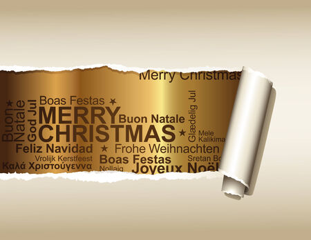 plied: ripped paper displaying a golden background with christmas greetings in different languages