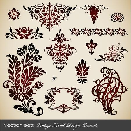 jeu de vecteurs : �l�ments de design floral vintage