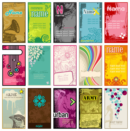 business collage: set of colorful vertical business cards in different styles (2x3,5)
