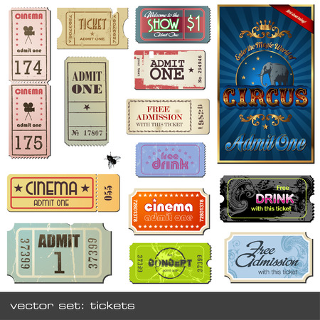 admit: tickets in different styles