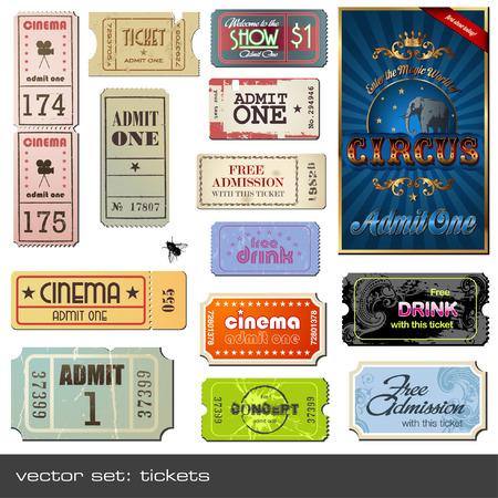 Tickets in verschiedenen Stilen  Vektorgrafik