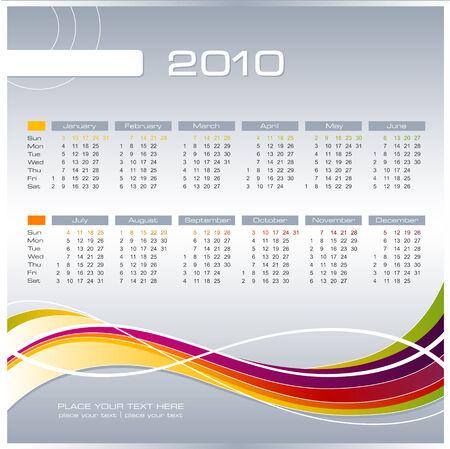 almanac: simple modern calendar for 2010 - starts sunday