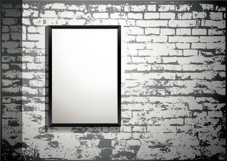 white brick wall: exhibition - blank frame on an old brick wall