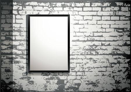 brickwall: exposici�n - marco en blanco sobre un antiguo muro de ladrillo Vectores