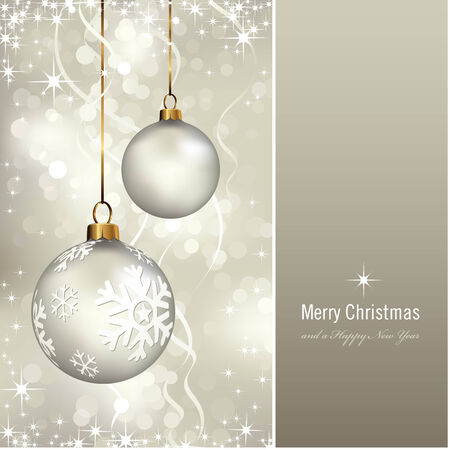 silver christmas: elegant christmas card with baubles over a shimmering background Illustration