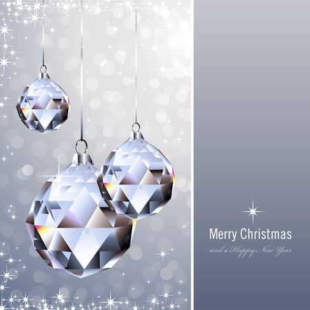christmas background with crystal ornaments Vector