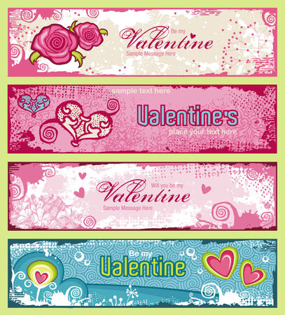 valentino: set of four cute valentines banners