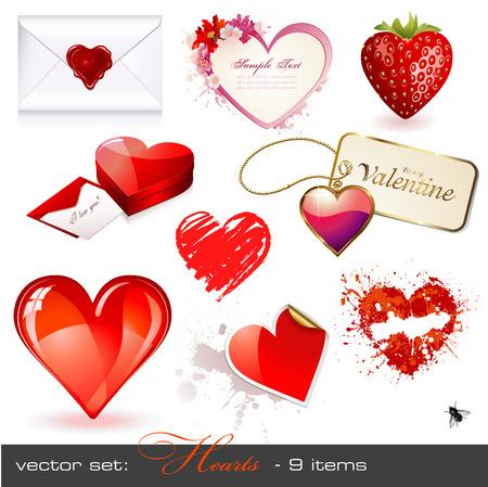 set: hearts Vector