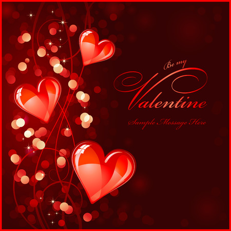 shimmer: Valentines background with glossy red hearts Illustration