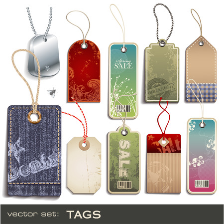 fabric label: set: tags - 10 items Illustration