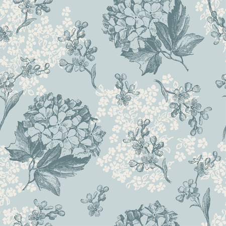 retro floral pattern with viburnum flowers and forget-me-nots - tiles seamlessly Vector
