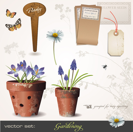 garden design: gardening set with flowers in aged terracotta-pots - build your own small garden! :)