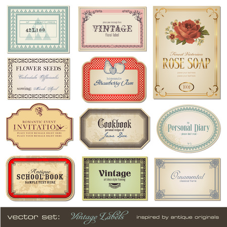 vintage labels - inspired by antique originals Stock Vector - 6575654
