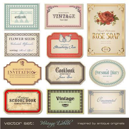 vintage labels - inspired by antique originals Illustration