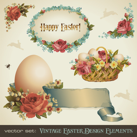 flores vintage: vintage easter design elements
