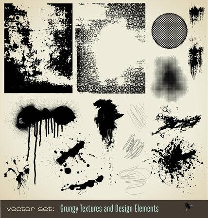 collection de textures grungy et �l�ments de conception Illustration