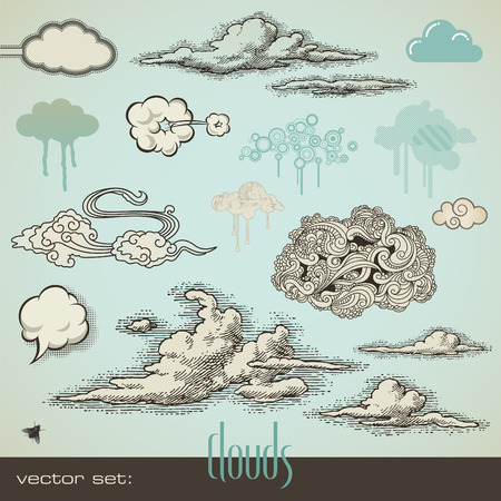 cloud clipart: establecer: nubes Vectores