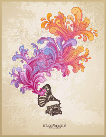 gramophone: retro music concept with vintage phonograph and colorful handdrawn swirls Illustration