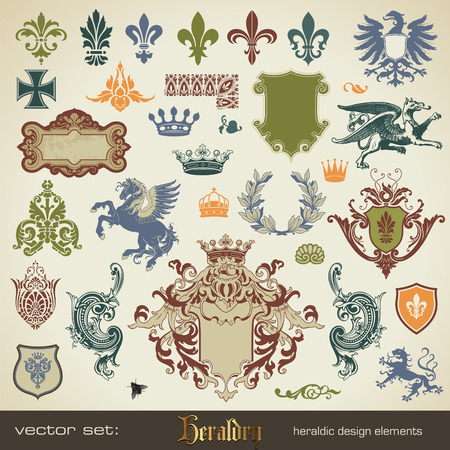 eagle shield and laurel wreath: vecor set: heraldry - bits and pieces for your heraldic design projects Illustration