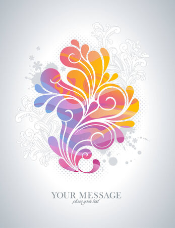 swirl: rainbow-colored swirly background with splats and retro floral elements Illustration