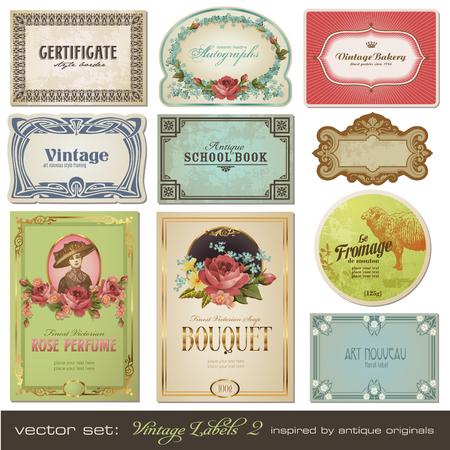 stile liberty: etichette vintage set 2 - ispirato da antichi originali