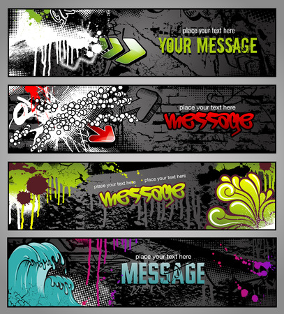 hip hop style: set of four graffiti style grungy urban banners Illustration