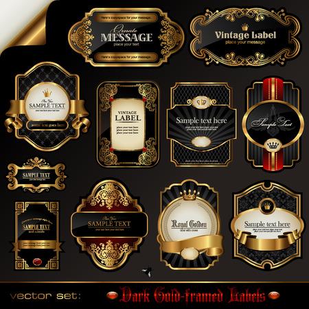nobile: set di oro nero-incorniciato banner