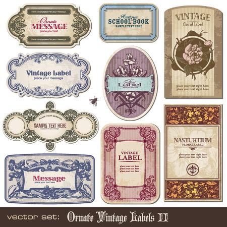 stile liberty: set di banner di vintage ornato dettagliati  Vettoriali
