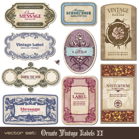 set of detailed ornate vintage banners