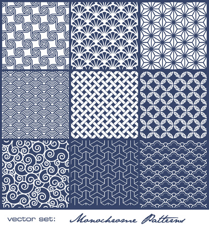 geometrical shapes: set of 9 seamlessly tiling monochrome patterns Illustration