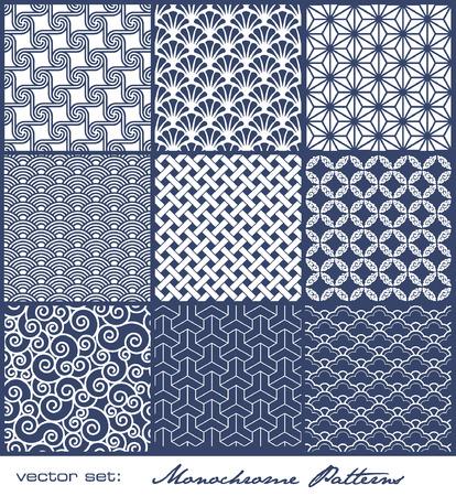 set van 9 naadloos naast elkaar monochrome patronen