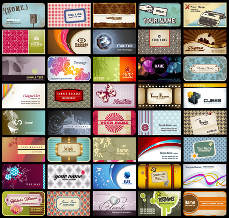 business card layout: variety of 40 detailed horizontal business cards on different topics  Illustration
