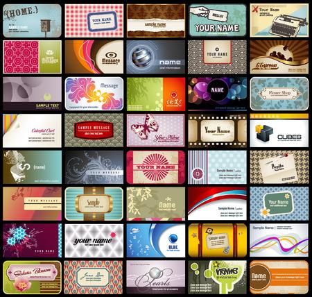 personalausweis: Vielzahl von 40 detaillierte horizontale Visitenkarten zu verschiedenen Themen  Illustration