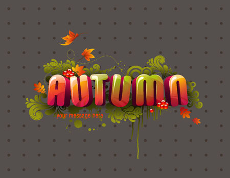 colorful autumn 3D headline with flying leaves, swirls and berries  Vector