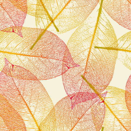 seamlessly tiling autumn leaves background  Vector