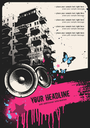 retro urban party flyer template with building, speakers and grungy textbox  Stock Illustratie