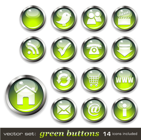 green buttons - aqua-style glossy buttons, blank and with 14 icons  Stock Illustratie