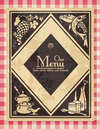 soup spoon: Vintage menu of dekking voor een kook boek - grunge is afneembaar  Stock Illustratie