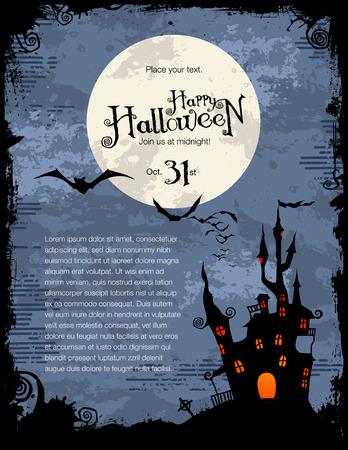 gruselig: grunge Halloween hintergrund mit haunted House, Flederm�use und Vollmond  Illustration