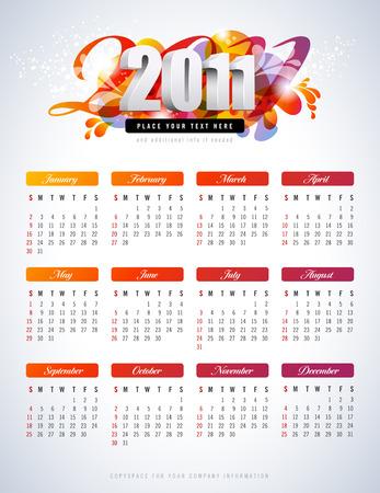 calendrier color� pour 2011 - commence dimanche