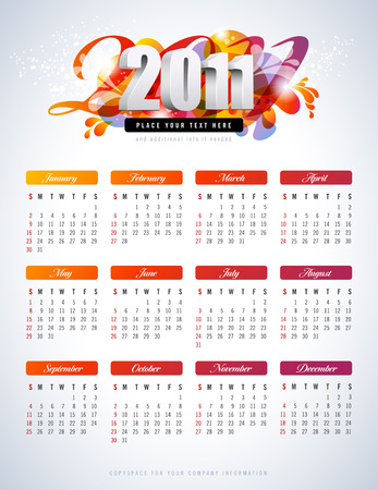 colorful calendar for 2011 - starts sunday