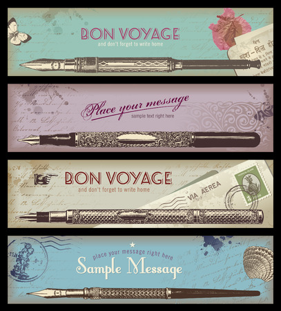 vintage travel or writing banners